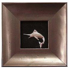 Sterling Silver Sculpture of A Marlin by Steve Beunis-Framed
