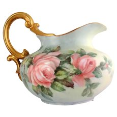 Victorian Style Pitcher with Pink Roses by Surber