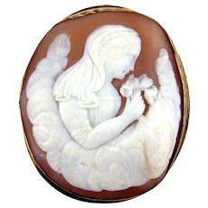 Late Victorian Style Lady's Shell Cameo Brooch, Greek Goddess Flora