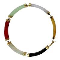 Lady's Jadeite Segmented Bracelet-14K Yellow Gold