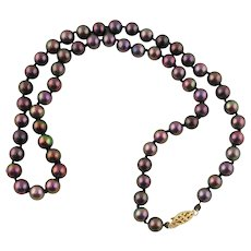 "Lady's Cultured Akoya Pearl Necklace-19"" Long"