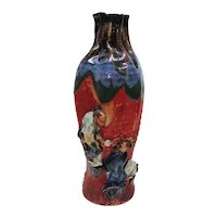 Japanese Pottery-Sumida Gawa Vase With Two Men & Cowrie Shells