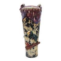 Japanese Pottery-Sumida Gawa Vase With A Man Holding a Chinese Lantern/Scroll