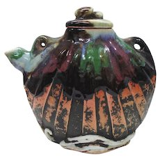 Japanese Pottery-Sumida Gawa Scallop Shell Teapot and Lid