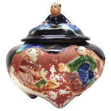 Japanese Pottery-Sumida Gawa Incense Burner with Lid