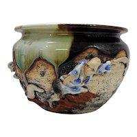 Japanese Pottery-Sumida Gawa Bowl with Two Men