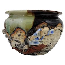 Japanese Pottery-Sumida Gawa Bowl with Two Men