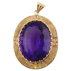 14K Yellow Gold Vintage Lady's Amethyst Pendant
