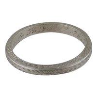 Vintage Lady's Platinum Wedding Band-Engraved 12/26/24