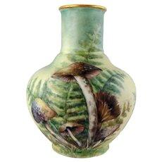 Vintage Porcelain Vase with Mushrooms by Margaret Surber