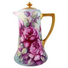 Vintage Porcelain Chocolate Pot with Roses by Margaret Surber