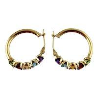Pair of Lady's Multi Gem Hoop Earrings-14K Yellow Gold