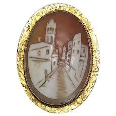 Antique Lady's Shell Cameo Brooch/Pendant-Village Street Scene