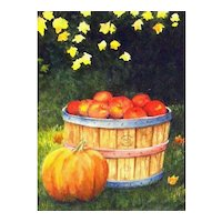 "An Original Watercolor Painting by Connie Hunter-"" Bushel of Apples"""