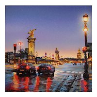 "Miniature Acrylic Painting by Beverly Fotheringham-""Paris Rain"""