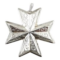 1977 Sterling Silver Christmas Cross Ornament-Reed & Barton
