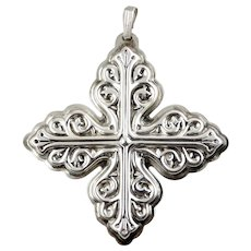1978 Sterling Silver Christmas Cross Ornament-Reed & Barton