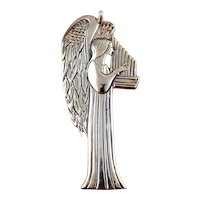 Hand & Hammer Sterling Silver Christmas Ornament-Angel with Harp