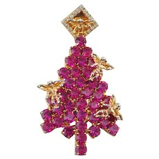 Vintage Attruia Christmas Tree Pin w/Pink & Clear Crystals