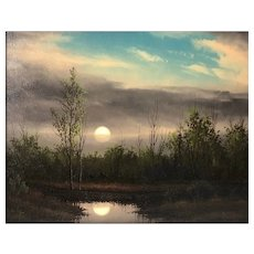 "Original Oil Painting ""Moonrise"" by Clifford Bailey"