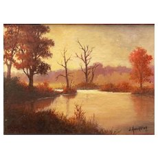 Miniature Oil Painting by Contemporary Artist, James A. Andrews-Medusa's Pond