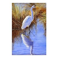 Miniature Oil Painting by Beverly Abbott -Shallow Water Fishing (Egret)