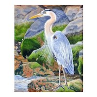 Miniature Oil Painting by Beverly Abbott - Rocky Shoreline (Heron)