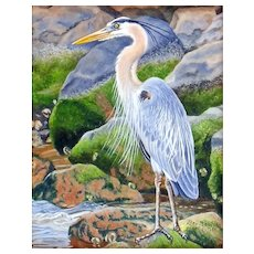 Miniature Oil Painting by Beverly Abbott - Rocky Shoreline (Heron)