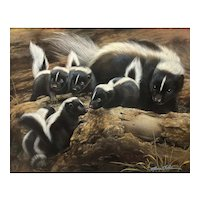 "Original Watercolor Painting by Rebecca Latham ""Outing with Mom (Skunk Family)"""