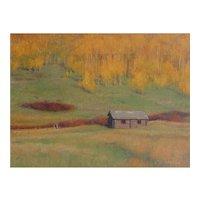 "Oil Painting by Contemporary Listed Utah Artist, Travis R. Humphreys-""Autumn Peak, Homestead"""