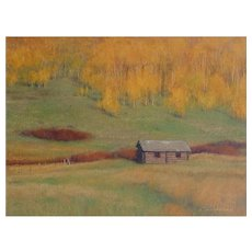 "Oil Painting by Contemporary Listed Utah Artist, Travis R. Humphreys-""Autumn Peak, Homestead"""