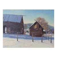 "Oil Painting by Contemporary Listed Utah Artist, Travis R. Humphreys-""Bare Bones (Pioneer Barns)"""