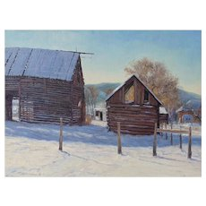 "Oil Painting by Contemporary Listed Utah Artist, Travis R. Humphreys-""Bare Bones (Pioneer Barns)"""