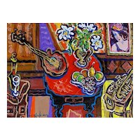 """Original Acrylic Painting by Listed Canadian Artist, Berge Missakian-""""Afternoon Trumpet Duet"""""""