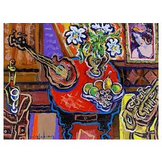 "Original Acrylic Painting by Listed Canadian Artist, Berge Missakian-""Afternoon Trumpet Duet"""