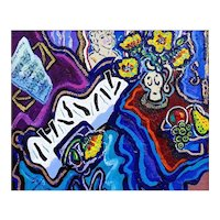 "Original Acrylic Painting by Listed Canadian Artist, Berge Missakian-""Melody of Love"""