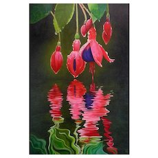 "Original Oil Painting by Contemporary Artist, Elizabeth Elgin - ""Fuchsia Reflections"""