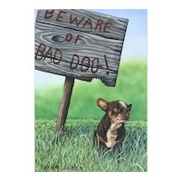 """Original Watercolor Painting by Listed Artist, Rachelle Siegrist-""""Bad Dog"""""""