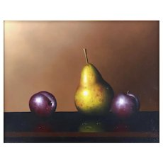 "Original Still Life Oil Painting by Clifford Bailey, ""Pear & Plums"""