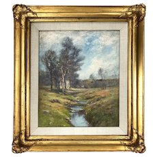 """Antique Oil Landscape Painting by Listed Artist, Edward Gay (1837–1928) -""""The Babbling Brook-Ellenville, NY"""""""