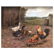 Original  Oil Painting by Listed Dutch Artist, Frans Beckers-The Barnyard (Antique Gold Frame)