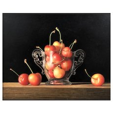 """Original Watercolor Painting by Contemporary Artist, Lynn Ponto-Peterson, """"Sweet Cherries"""""""