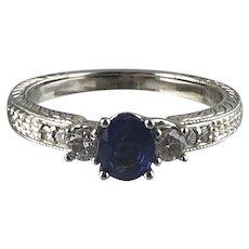 Sapphire & Diamond Lady's Ring 14kt (X-1) White Gold