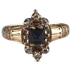 Late Victorian Style Lady's Sapphire and Diamond Ring - 14kt Yellow Gold