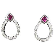 14K White Gold Lady's Ruby & Diamond Earrings