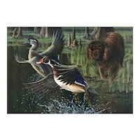 Blackwater Surprise (Boykin Spaniel & Wood Ducks) Oil Painting by Denise D. Nelson