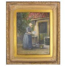 Original Watercolor of a Dutch Woman by Edward Snow, 1844 - 1913