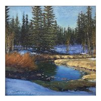 """Original Oil Painting by Listed Artist Travis Humphreys- """"SPRING THAW"""""""