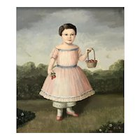 """Original Primitive Style Oil Painting by Louise Lecka, """"Strawberry Time"""""""