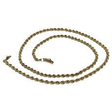 """14K Yellow Gold Solid Rope Style Necklace-18 3/8"""""""